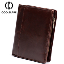 Genuine Cow Leather Short Men Wallet Small Vintage Wallets For Men Brown Clutch Bag Coin Bag Purse Money Clip Wallet PJ123 цена