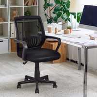 Giantex Moderno e Ergonómico Mid back Mesh Cadeira Do Computador de Escritório Giratória Preto Início Mobiliário HW56364