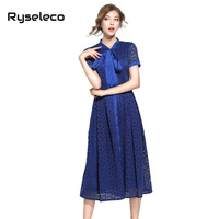 2017 Summer Slim High Fashion Elegant Casual Formal Wear Party Crochet Floral Lace Flare Dresses Bow Tie Button Up Party Vestido