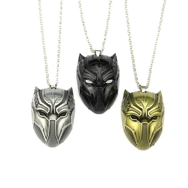 steel metal symbol stainless marvel and panther golden pendant bijoux en black