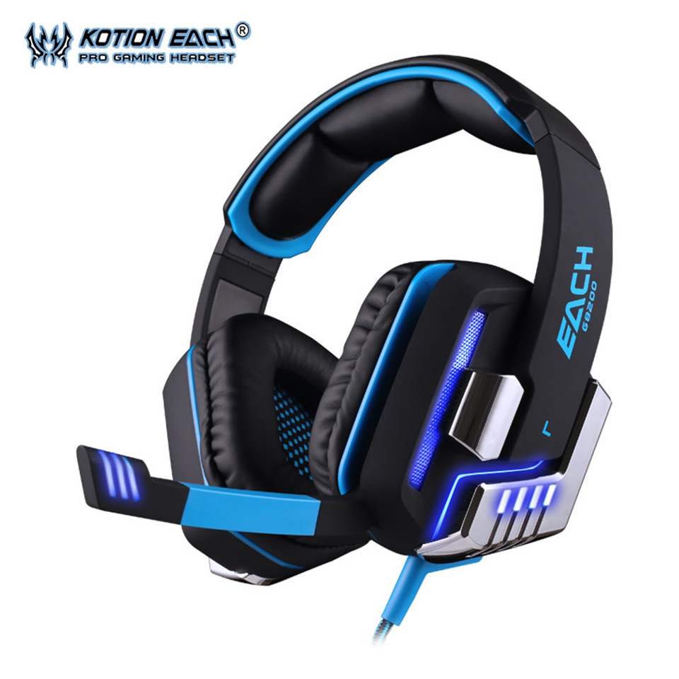 KOTION EACH G8200 Gaming Headset Headphone 7.1 Surround USB Vibration Game Headband Earphone with Mic LED Light for PC Gamer professional gaming headset surround stereo game headphone headband earphone 3 5mm with light mic micphone for computer pc gamer