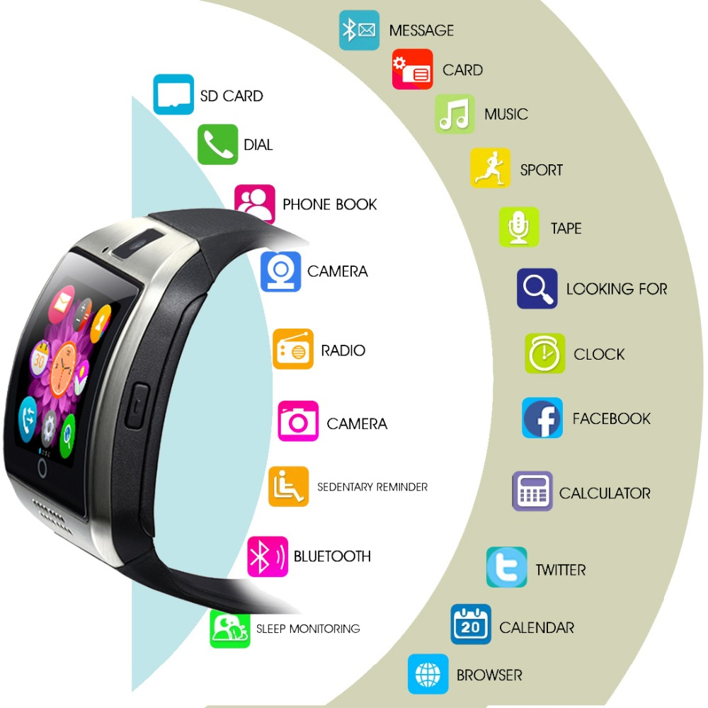 Phone watch bluetooth smart watch men q18 with touch screen big battery support tf sim card camera for android phone smartwatch