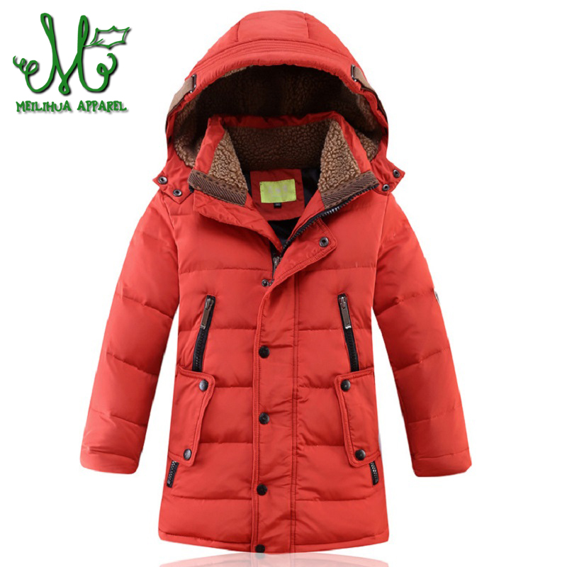 Boys White Duck Down Jackets Thick Warm Outerwear with Hooded Long Children's Coat Boy kids Clothes Windproof Jacket Coats Parka new men s military style casual fashion canvas outdoor camping travel hooded trench coat outerwear mens army parka long jackets