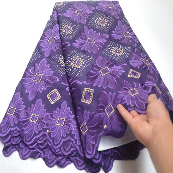 Plain purple African Swiss lace voile fabric cotton 100% without holes suitable for wedding shine high quality Wise Choice DG224