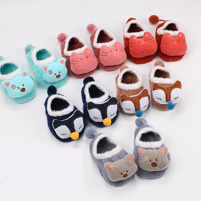 Winter Coral Fleece Socks Child Baby Infant Children Cartoon Doll Feather Yarn Floor Baby Socks cute  Funny Sock 2