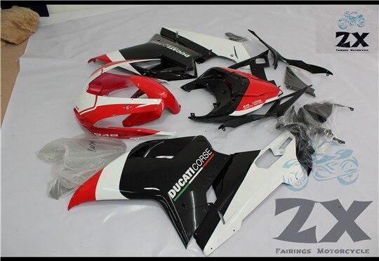 Moto Blanc + Noir ABS Injection Carrosserie Carénage Pour Ducati 1098 848 1198 2007 2008 2009 blanc et noir uv