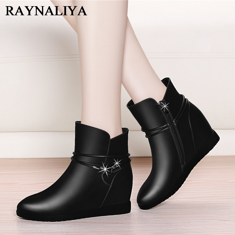 Women High Heels Ankle Boots Female Genuine Leather Sheepskin Woman Spring Autumn Casual Shoes Black Big Size 35-40 YG-A0020 women led light shoes casual shoes led luminous boots unisex genuine leather ankle boots women usb charging martin boots 35 46