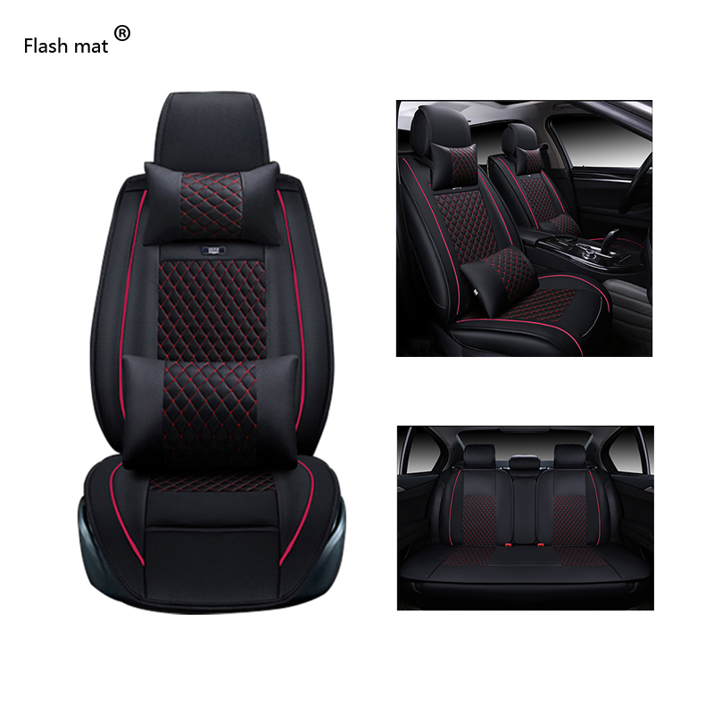 цена Flash mat Universal Leather Car Seat Covers for KIA All Models K2/3/4/5 Kia Cerato Sportage Optima Maxima carnival rio ceed auto