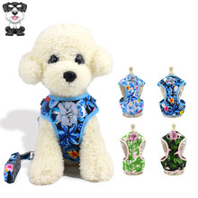 New pet supplies breathable printed vest-type traction rope Cat and dog universal cotton webbing chest strap