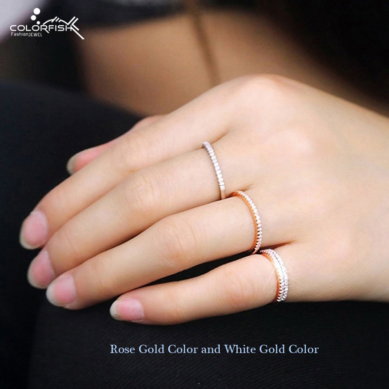 COLORFISH 925 Anillo de plata esterlina apilable 1 mm Cz Stone Match Band Anillos de dedo Mujeres Rose Gold Color Knuckle Thin Midi Ring