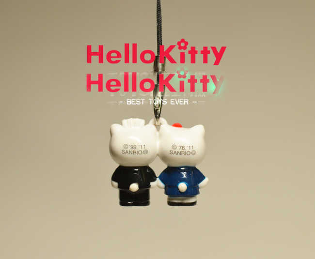 G596 Olá Kitty Original anime Japonês figura PVC encantos do telefone móvel cinta keychain
