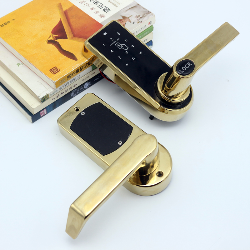 Фотография LACHCO Smart Electronic Door Lock Keypad Touch Screen Password Card Key Stainless Steel Latch Zinc Alloy Silver Gold SL16073S