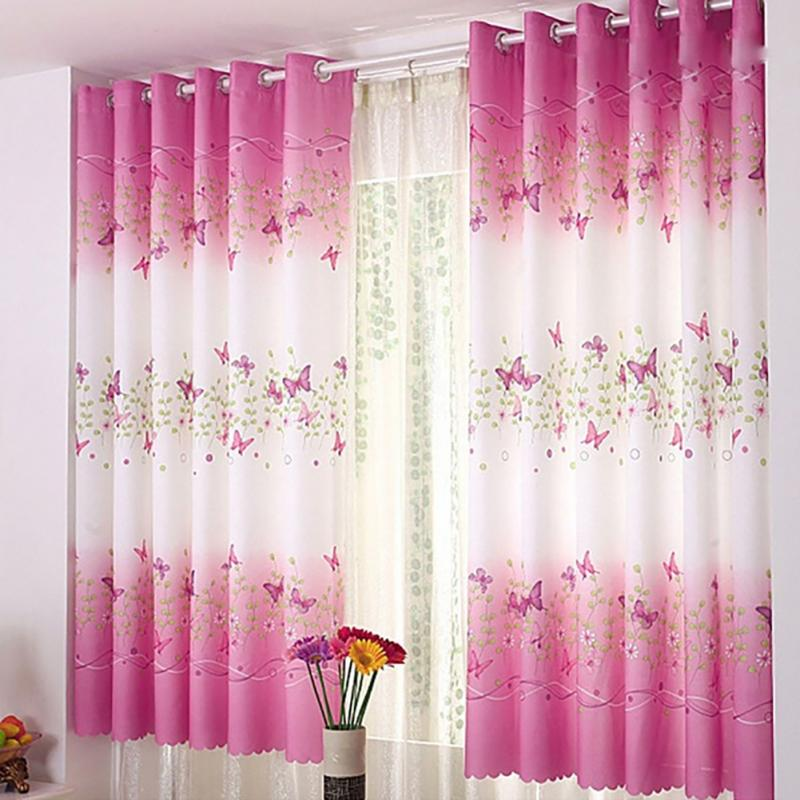 Lovely Style Pink butterfly printed curtains for door window bedroom ...