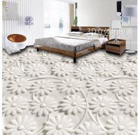bathroom waterproof wallpaper Home Decoration 3D three dimensional flowers floor tiles pvc self adhesive wallpaper