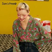 Samstree Bloemenprint Urban Gypsy Vrouwen Shirts 2019 Herfst Vintage Volledige Mouw Casual Koreaanse Bohemen Office Dames Blouses