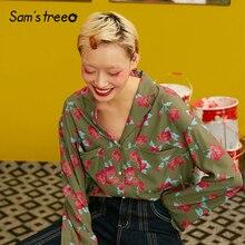 Samstree In Hoa Đô Thị Giang Hồ Nữ Áo Sơ Mi 2019 Thu Vintage Full Thun Hàn Quốc Bohemia Công Sở Nữ Áo Kiểu