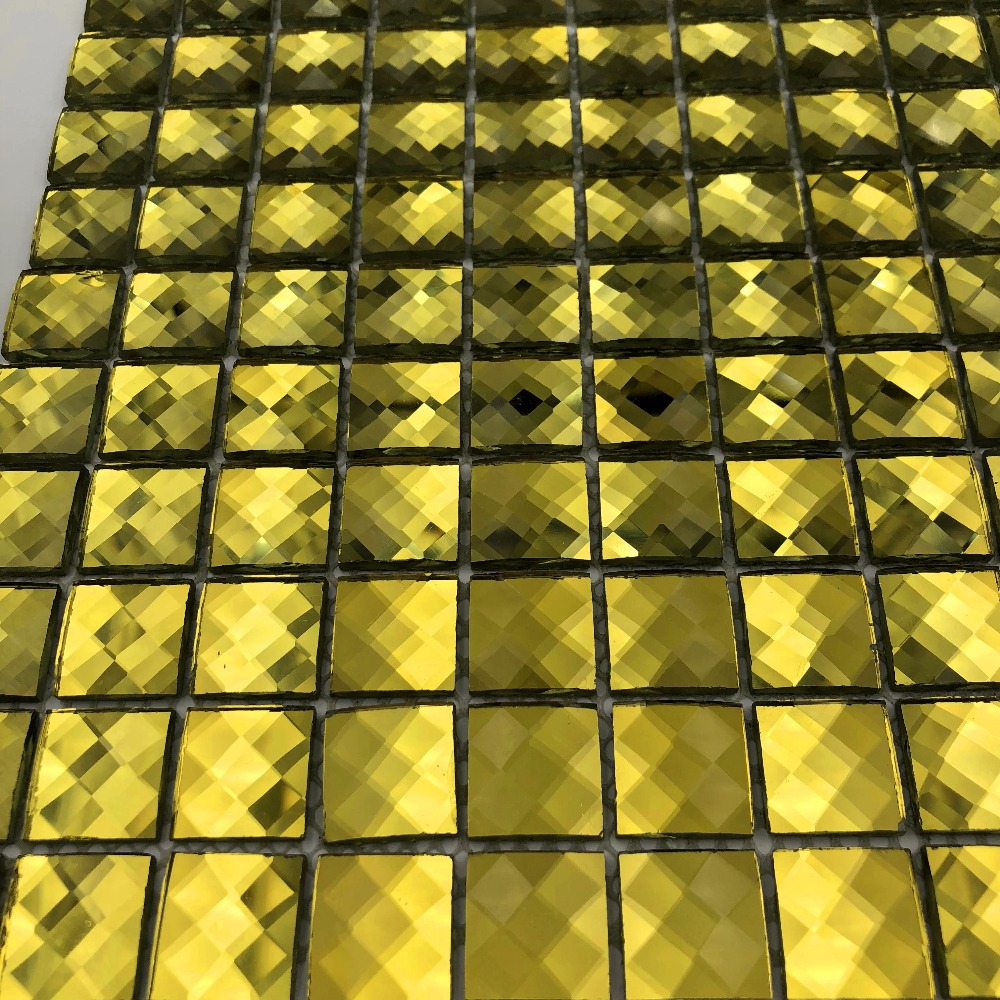 Splendid 13 Facets Diamond Golden Mirror Crystal Glass Mosaic Tiles ...