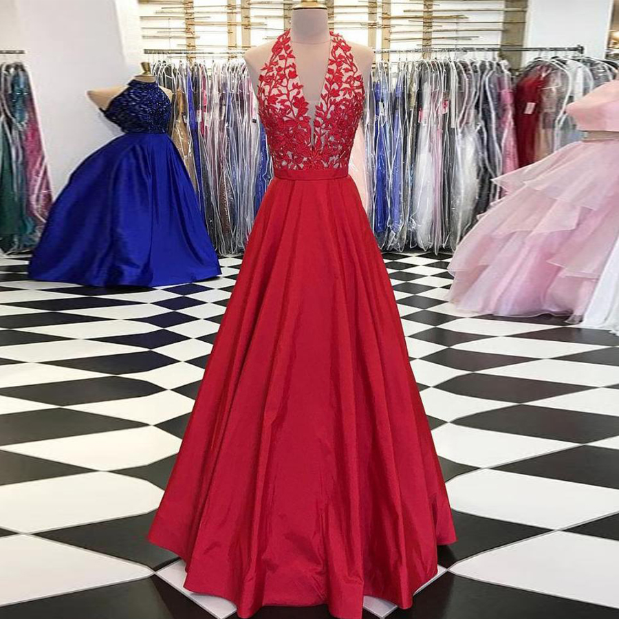 A-line Halter Applique Long   Prom     Dresses   Beautiful Long Evening   Dress   Embroider Red Gown Formal   Dress   vestidos de graduacion
