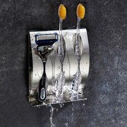 Porte-brosse à dents rasoir antirouille en acier inoxydable poli organisateur collant mural salle de bains douche brosse à dents étagère