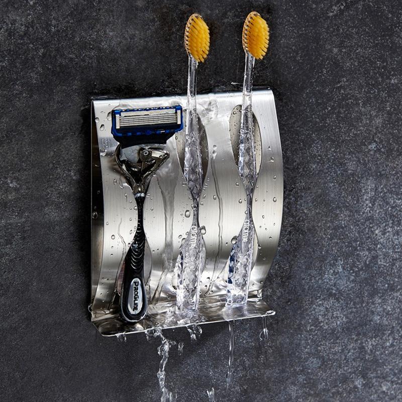 Zahnbürste Rasierer Halter Rostfrei Poliert Edelstahl Organizer Sticky Wand Montiert Badezimmer Dusche Zahnbürste Regal