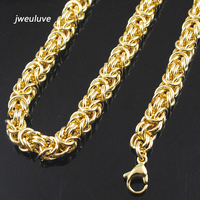 9mm Wid 18k Gold Plated Chain Link Necklace Huge Heavy Long Rope Stainless Steel Men S