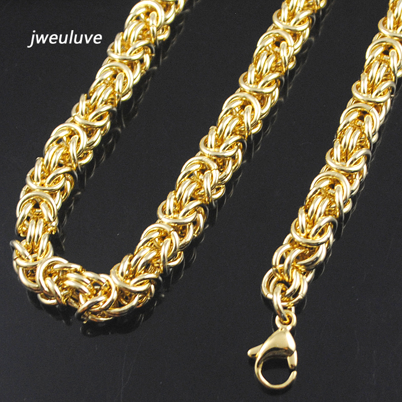 9mm Wid Gold Color Chain Link Necklace Huge Heavy Long