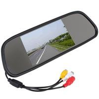 5inch TFT Color Mirror Car Rearview Monitor LCD Display 2AV Input For DVD Reversing Camera For