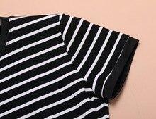 Enough Stock Summer Round Neck Short-sleeved Dress Black And White Striped Dresses Casual Elegant Sheath Slim Dress Dropshipping