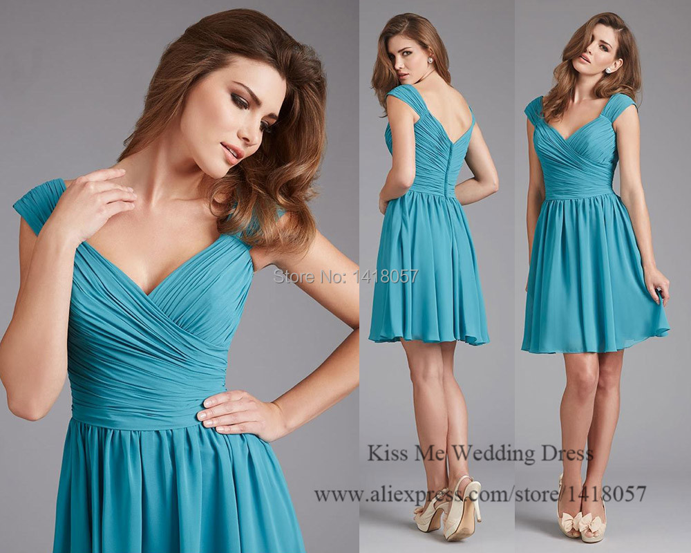 2015 cheap turquoise bridesmaid dresses short wedding party dress 2015 cheap turquoise bridesmaid dresses short wedding party dress pleat cap sleeve vestido de festa curto b1114 in bridesmaid dresses from weddings events ombrellifo Choice Image
