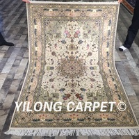 Yilong 4 X6 Wool Silk Persian Handknotted Rug Oriental Durable Chinese Carved Wool Silk Carpet WY2125S4x6