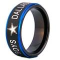 ЮГК Марка 8 ММ Черный Матовый Центр с Голубой Шаг Eage Даллас ковбои Дизайн Tungsten Comfort Fit Кольцо для мужчины и женщины свадьба