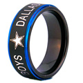 YGK Brand 8MM Black Matte Center with Blue Step Eage Dallas Cowboys Design Tungsten Comfort Fit Ring for man and woman's wedding