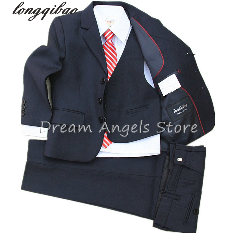 (Jackets+Vest+Pants+Tie+Cravat) Boy Suits Flower girl Slim Fit Tuxedo Brand Fashion Bridegroon Dress Wedding blue Suits Blazer