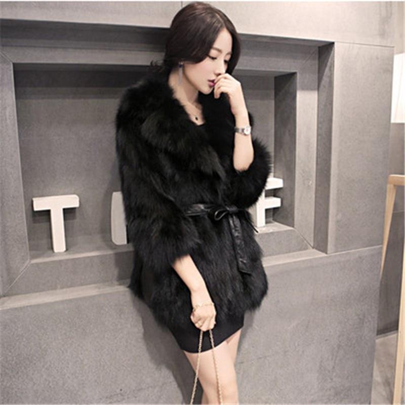 black Long Haining Korean Slimming Grass Coat Fur White Fox Fashion Female New Warm Slim Thick gray 0q6HTndnx