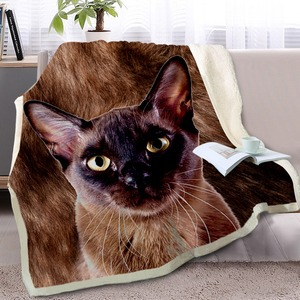 Image 2 - BlessLiving 3D Cat Throw Blanket on Bed Sofa Animal Siamese Sherpa Blanket Pet Brown Bedspread Fur Plush Thin Quilt 150cmx200cm