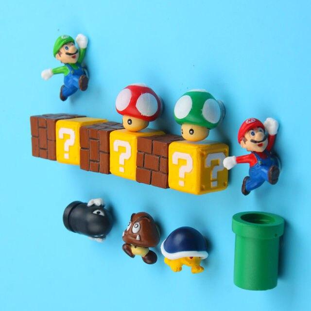 10 pièces 3D Super Mario Bros aimants pour réfrigérateur réfrigérateur aimant Message autocollant adulte homme fille garçon enfants enfants jouet cadeau danniversaire
