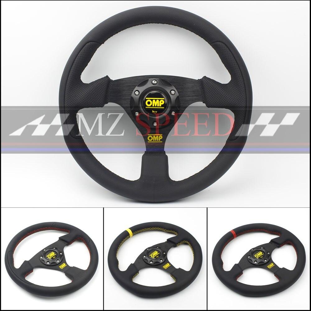 Автомобильные аксессуары 13 (330 мм) для OMP спортивный руль кожа Желтый или красная линия Игры Плоский рулевое колесо
