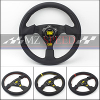 Car accessories 13 (330mm) For OMP Racing Steering Wheel leather yellow or red line game flat Steering Wheel