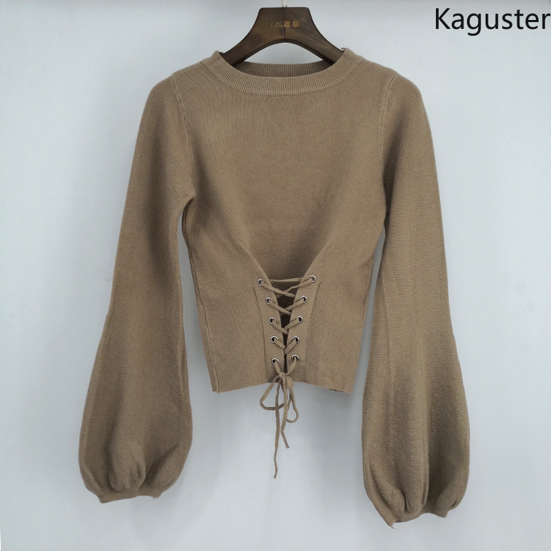 Kaguster New Fashion Fall Winter Knitted O-Neck Office Lady Rope lacing sweaters Lantern Sleeve Clothes Women Men sweet Pullover