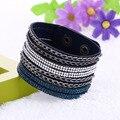 New Arrivals Multilayer Wide Leather Bangle Bracelet Fashion Alloy Chain Rhinestone Bracelets Women Mens wrap Bangle Adjustable
