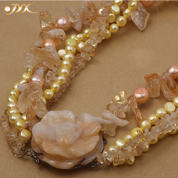 """JYX Classic Style Jade Flower Necklace five strands 6-7mm freshwater pearls with citrine and jade 18.5"""" women"""