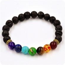Muti-color Beads Bracelets Lava 7 Chakra Healing Balance Bracelet for Men Rhinestone Reiki Prayer Stones