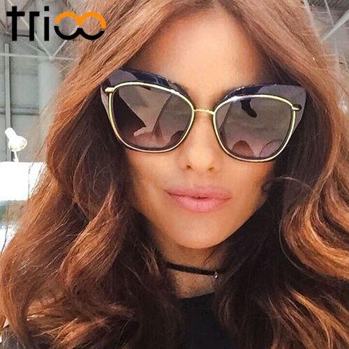 TRIOO Speical Design Velké sluneční brýle Oculos Mirror Lens Sluneční brýle pro ženy High Fashion Chic Cat Eye Shades Eye Eye