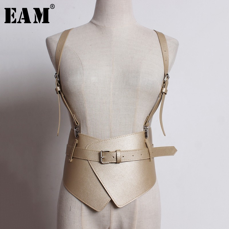 [EAM] 2020 New Spring Autumn Black Pu Leather Buckle Split Joint Irregular Personnality Belt Women All-match Fashion Tide JL363