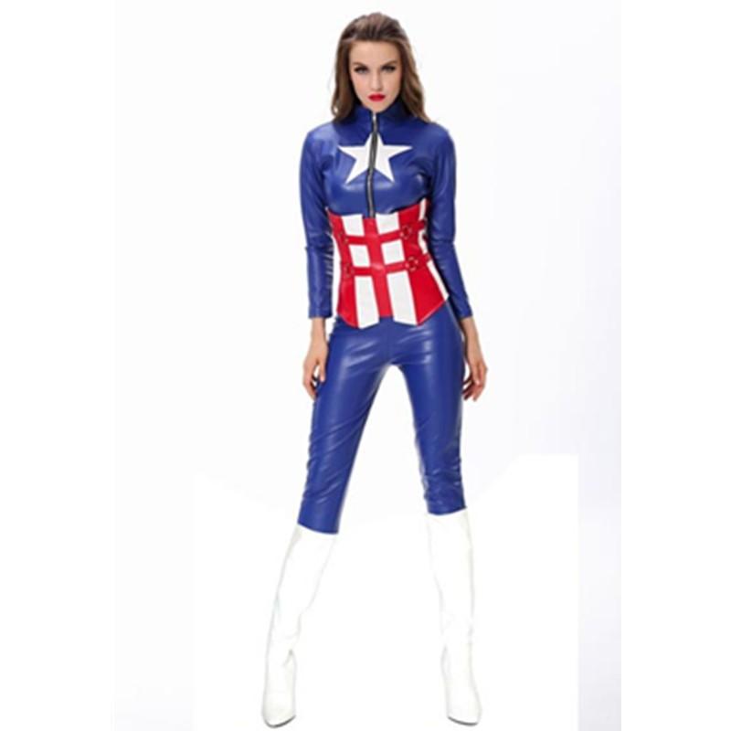 America Movies Superhero Blue Long Sleeve Waist Cincher Bodysuit Quality Captain America Costume Halloween Fancy Dress L15107 L15107 800x800