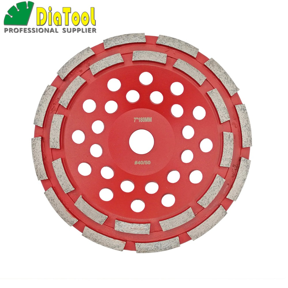 DIATOOL 7 Inch Diamond Double Row Grinding Cup Wheel For Concrete Abrasive Material 180mm Grinding Wheel Bore 22.23mm free shipping coarse medium fine grit 4 inch diamond turbo cup wheels m14 thread for grinding concrete and stone 3pcs set