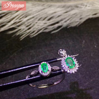 Natural Emerald jewelry sets for Femal Classic Fine Jewellery sets rubies Genuine Gemstones Pendants/Rings S925 silver #243