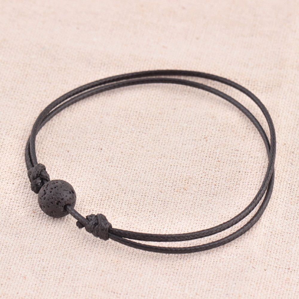 Female Male Leather Bracelet Natural Black Lava Stone Rock Beads Adjustable Bracelets Essential Oil Diffuser Dropping ship Hot