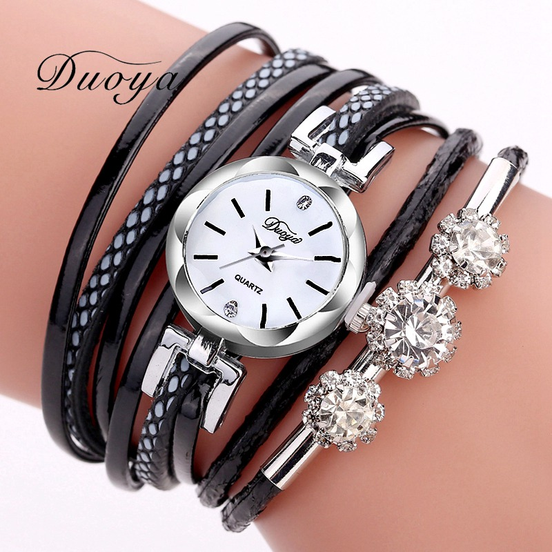 Duoya Brand Bracelet Watches For Women Luxury Silver Crystal Clock Quartz Watch Fashion Ladies Vintage Creative Wristwatches duoya brand new arrival women gold leather wrist watches for women dress bracelet luxury crystal vintage quartz watch clock 2018