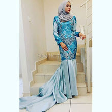 MZY708 Blue Delicate Beaded Lace Appliques Crystal Middle East High Neck Long Sleeve Mermaid Muslim Hijab Wedding Dress